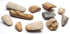 11 fragments of Neolithic polished axes from France - 52 - 148 mm