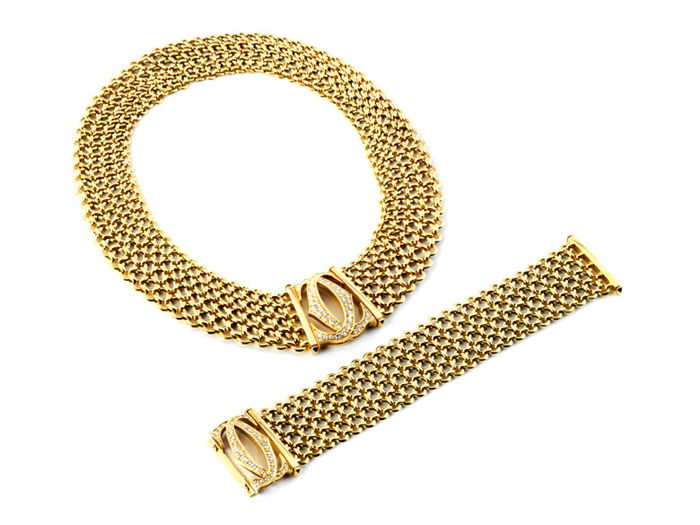Cartier - necklace and armband set 18kt yellow gold