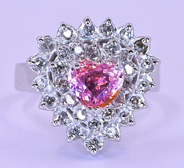 Heart sweet Pink Tourmaline, with Diamonds ring ***NO RESERVE price!***