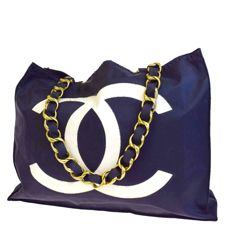 Chanel - Vintage Canvas Chain Jumbo CC Tote bag