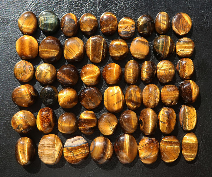 Lot of big cabochons in natural Tiger's eye - 1.4 to 2 cm - 510ct (52)