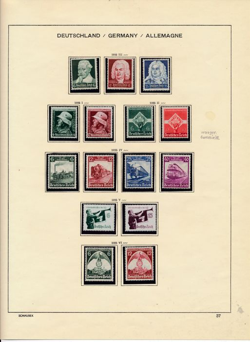German Reich - 1935 - 1945 - almost complete MNH collection on Schaubek album pages