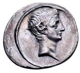 Roman Republic - Imperatorial - Octavian Caesar, Augustus - Rare Denarius circa 30-29 BC. Bold Strike, Magnificent Portrait of Octavian. Beautiful Surface.