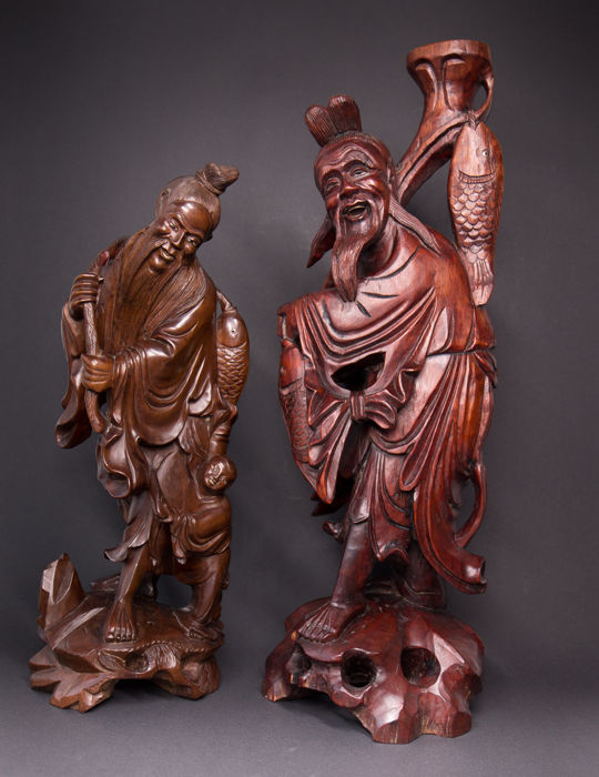 Two large hardwood sculptures of fisherman 43 cm & 52 cm - China - mid 20th century