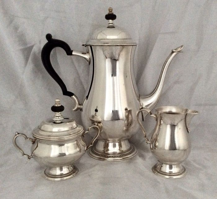 3-piece silver plated tea set, by Oneida, ca. 1920