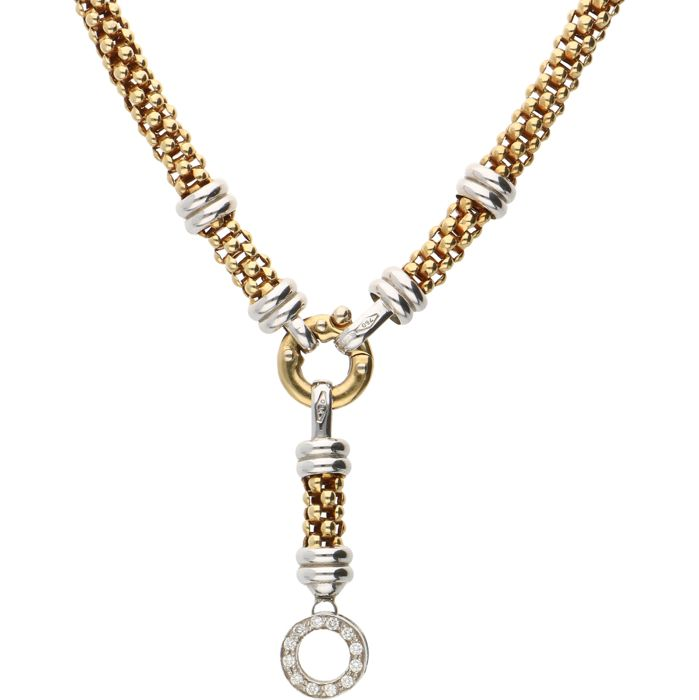 18 kt - Yellow gold popcorn link necklace by Baraka with white gold details and set with 12 brilliant cut diamonds of 0.18 ct in total, set in a white gold pendant - Length: 46.2 cm