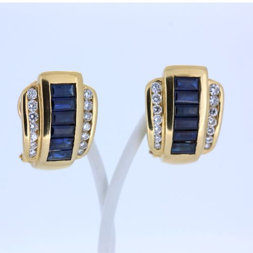 Earrings in gold with sapphires and brilliants