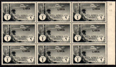 Libya 1940 - Airmail 1 Lira grey, block of 9 (edge of sheet) - Sass.  No.  A52