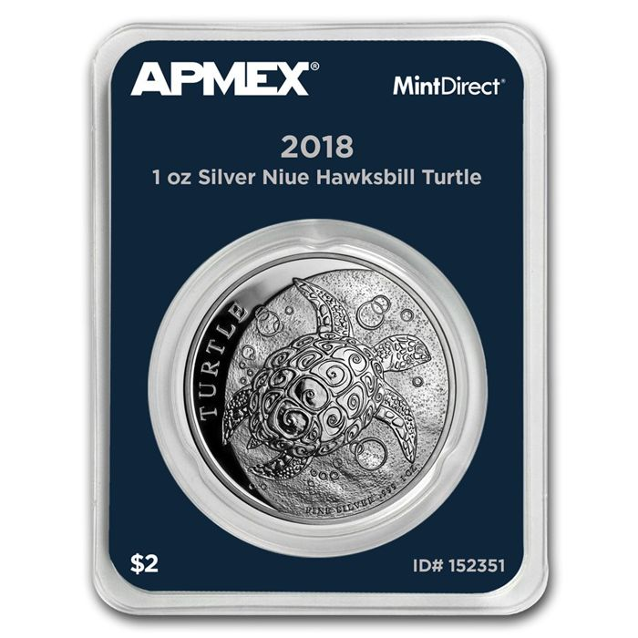 Niue - 2 Dollars 2018 'Hawksbill Turtle' MintDirect slap packaging  - 1 oz silver