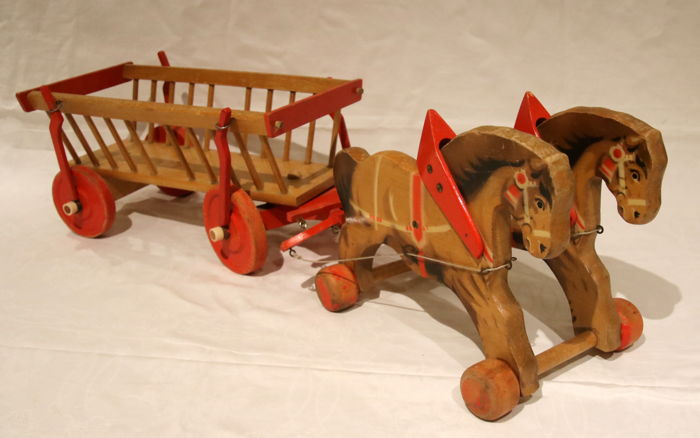 Rare wooden toys, horses and carriage