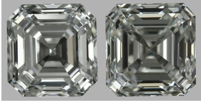 Pair of Asscher Cut 2.02 ct total F-G VS1 -VVS2  - Low Reserve Price - #1836-1837