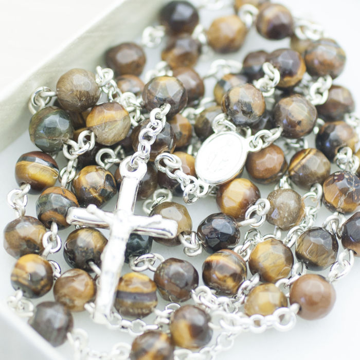 ROSARY made of faceted Tiger Eye stone, mounted in sterling silver