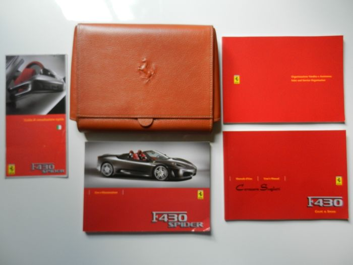 Ferrari F430 leather owners manual document pouch with documents