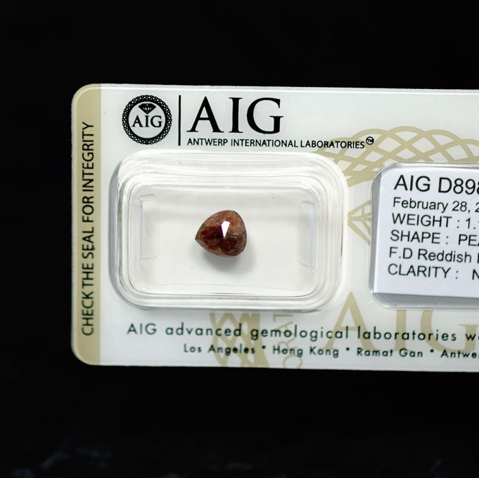 Natural Fancy Dark Reddish Brownish Grey - 1.11 ct
