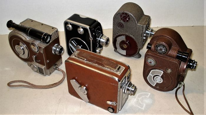 Convolute of 5 film cameras 8mm, double eight. 16 mm from the 30s-50s