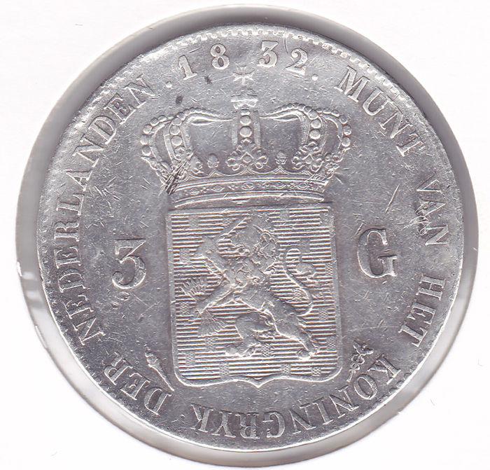 The Netherlands – 3 guilder 1832/22, overstrike Willem I – silver