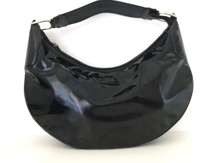 Gucci - Black Patent Leather Half Moon  Shoulder Bag - *No Minimum Price*