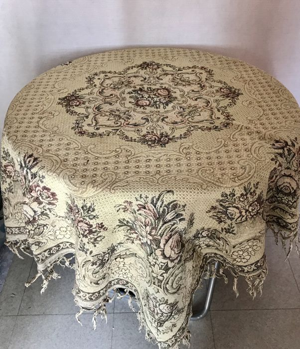 Magnificent antique vintage table rug in tapestry
