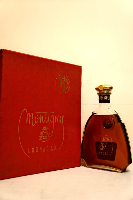 Cognac Montigny X.O. Full Gift Set, Bottled 1990s