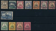 German Colonies – 190 to 1920 – small batch with 12 postal stamps, included 2 Mark Kaiseryacht with watermark, Michel 30A