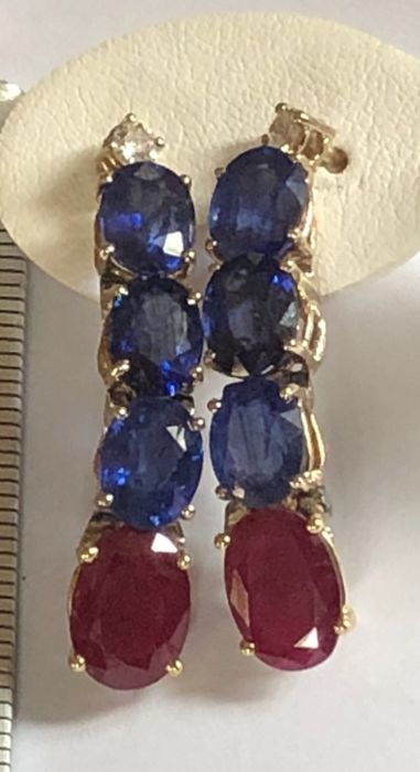 Exclusive 18 kt yellow and white gold earrings with 10.50 ct sapphires, 4.92 ct rubies and 0.18 ct diamonds