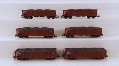 Roco N - 24035 - Freight carriage - 6 Hoge bakwagens type Eaos - DB