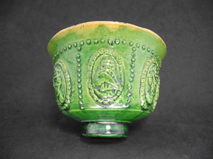 Chinese 618 ~ 907AD Tang Sancai Outside green inside yellow glaze Applique figure cup 中國 唐三彩  外綠內黃釉 貼花人物杯