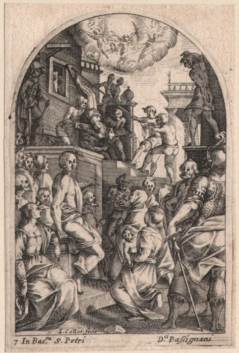 Jacques Callot ( 1592-1632 ) - martyrdom of Saint Peter
