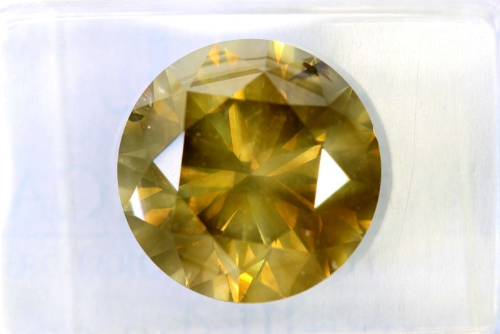 """ Big Size "" -  Naturel Fancy INTENSE Greenish Yellow Diamond  - 5.00 ct - SI2 - * NO RESERVE PRICE *"