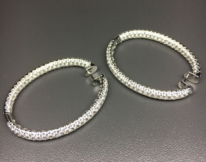 Elegant earrings set with diamonds: F - VS1 - Very good - 11.5 ct in total