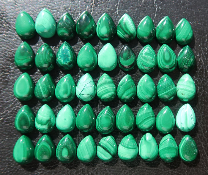 Lot of cabochons in natural Malachite - 1 x 0.7 cm - 137 ct (45)