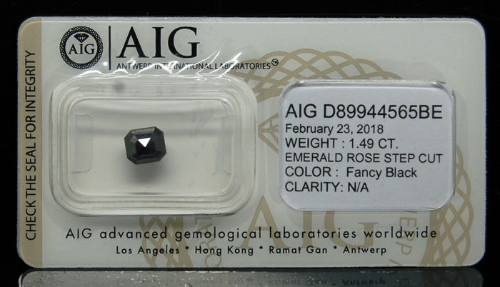 1.49 Cts Certified Natural Fancy Black Diamond -No reserve