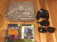 Original Xbox Christal Limited Edition Console + bundle of vintage video games for NES and Dreamcast