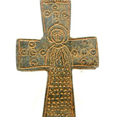 Crusaders Period - Templar Holy Land - Reliquary Cross Pendant with Saints - 102x47mm
