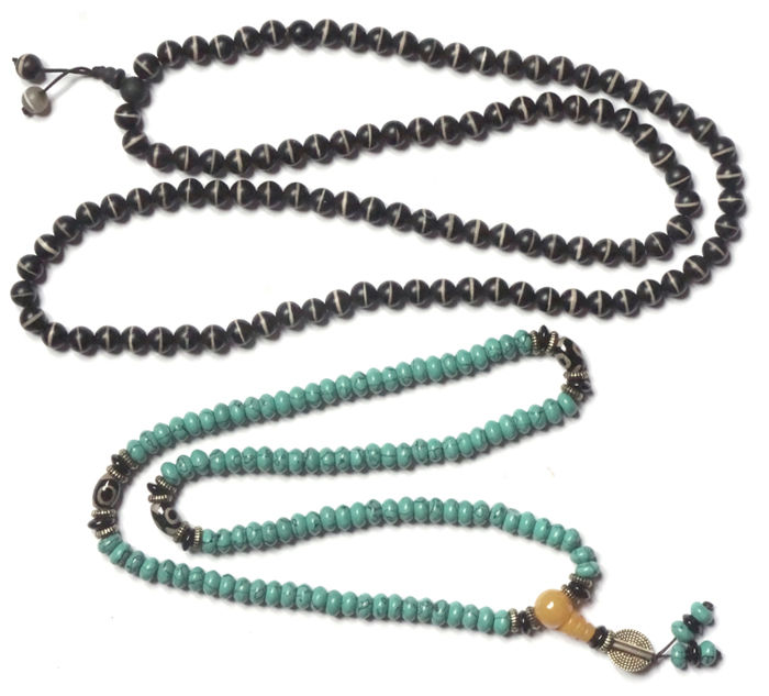 2 Buddhist Prayer Malas - Dzi Agate  and Turquoise Beads - Tibet