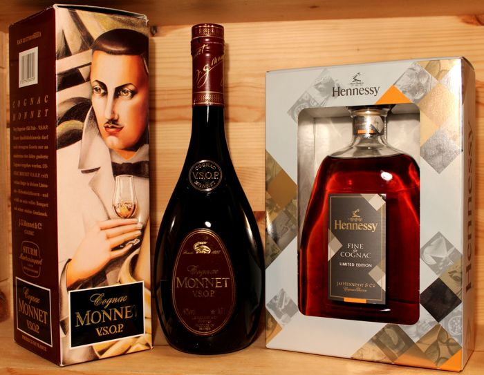 2 bottles Cognac: 1.  Monnet VSOP, 70cl, 40%vol incl. orig. box, from 1990s + 2. Hennessy Fine Cognac, Limited Edition, 2016, 700ml, incl box.