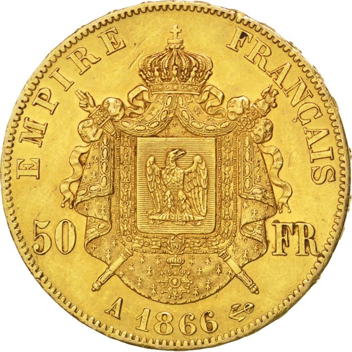France - 50 Francs 1866 A - Napoléon III - gold