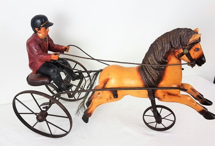 Man on sulky with horse - wood and metal - 20th century