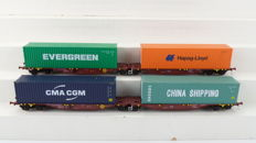 Mehano H0 - 55507 T284/55509 T284 - Freight carriage - Set of two double container trucks type Sggmrss - NMBS