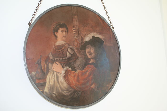 Stained glass circle - after depiction of Saskia van Uylenburgh and Rembrandt van Rijn - signed Rembrandt