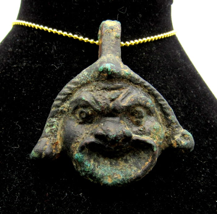 Ancient Roman Bronze Angry Theatrical Mask Pendant  - 41 mm