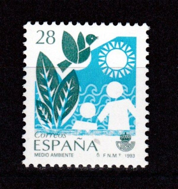 Spain 1993 - Environment. Displaced blue - uncatalogued