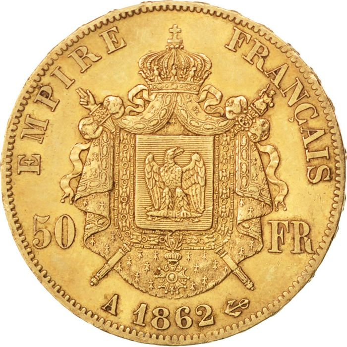France - 50 Francs 1862 A - Napoléon III - gold