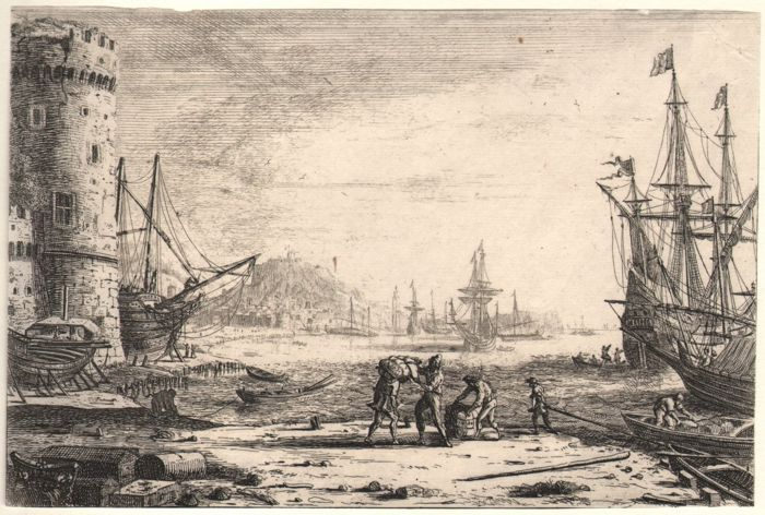 Claude Lorrain (1600-1682) - Harbour with a large tower