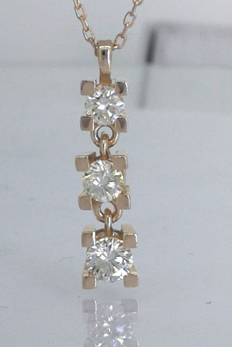 14 kt Trio pendant with brilliants, a total of 0.50 ct of diamonds, with a gold necklace of 42 cm in length
