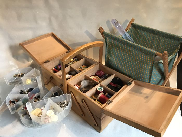 Stocked sewing tale lot, a stocked haberdashery case and a full button box - France - 1960s
