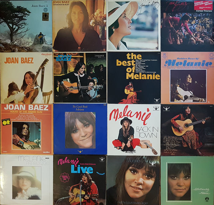 Very nice collection of 16 Melanie and Joan Baez LP albums, incl. some rare ones. (original vinyl). Two 60s and 70s folk heroes.