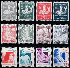 The Netherlands 1929/1930 – Syncopated perforation children's stamps – NVPH R82/R85, R86/R89 and R90/R93