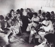 Paul Almasy (1906-2003) - Indigenous women learning Spanish, Mexico, 1970