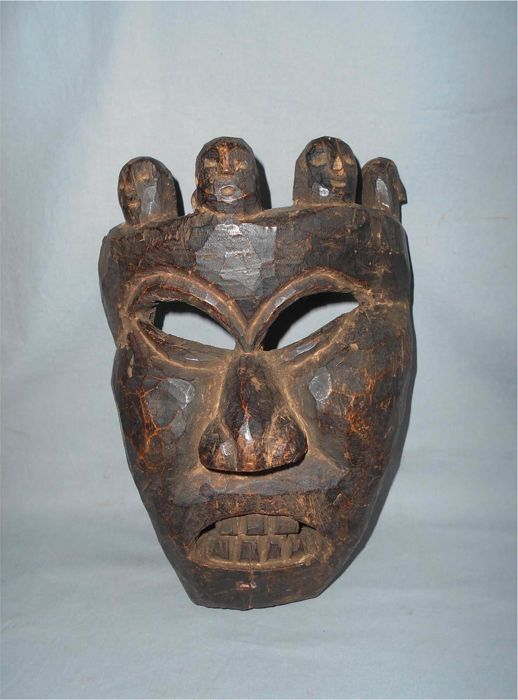 Antique Tamang Tribal Buddhist Mahakala Demon Mask - Nepal - 19th century